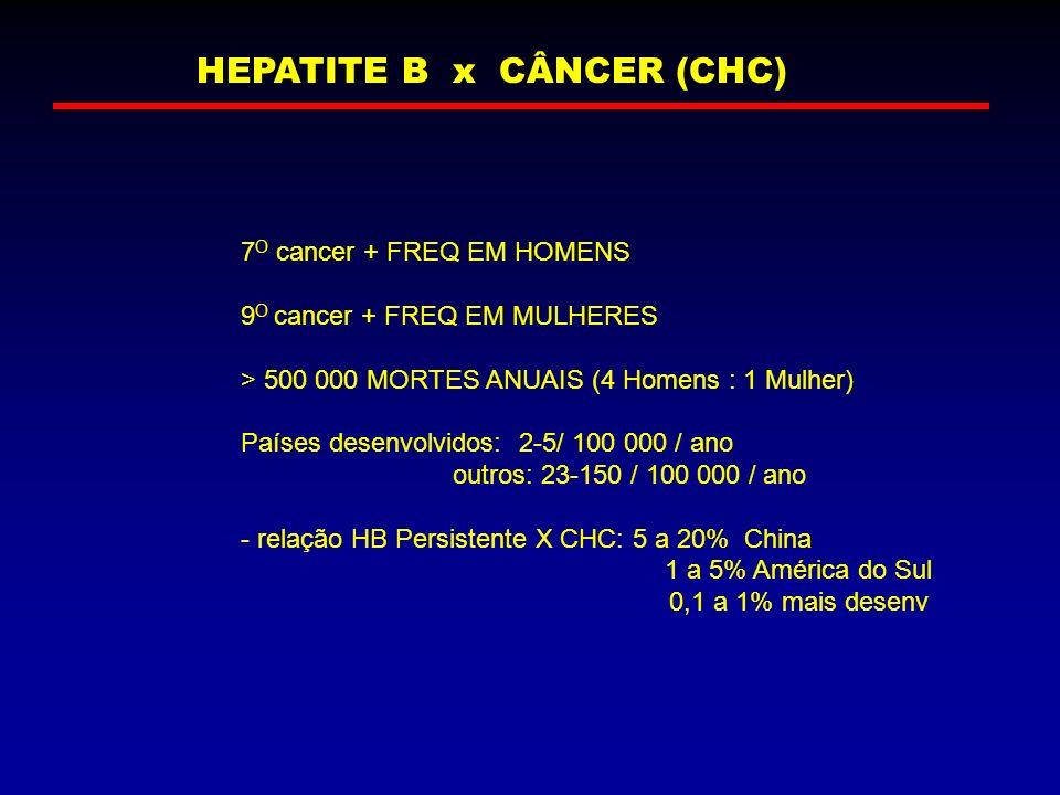HEPATITE B x CÂNCER (CHC) 7 O cancer + FREQ EM HOMENS 9 O cancer + FREQ EM MULHERES > 500 000 MORTES ANUAIS (4 Homens : 1 Mulher) Países desenvolvidos