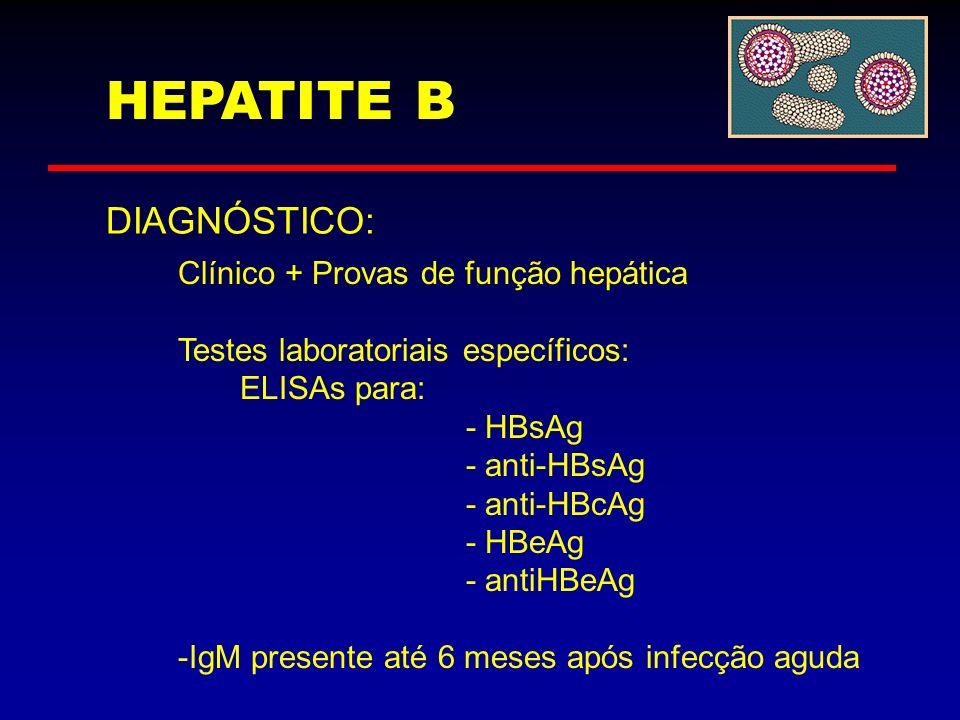 HEPATITE B DIAGNÓSTICO: Clínico + Provas de função hepática Testes laboratoriais específicos: ELISAs para: - HBsAg - anti-HBsAg - anti-HBcAg - HBeAg -