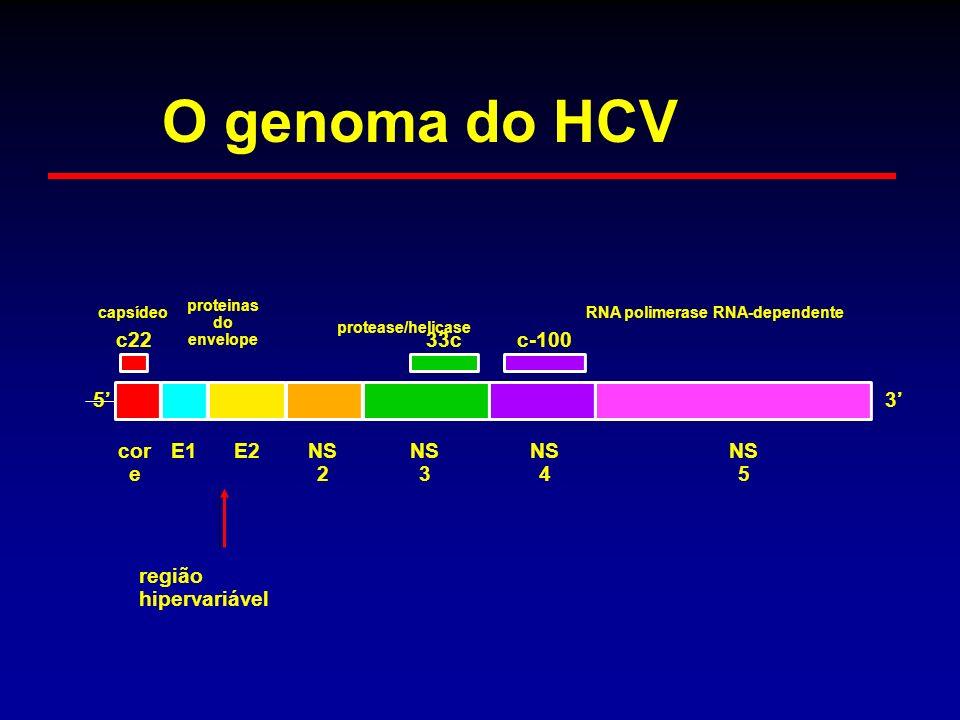 região hipervariável capsídeo proteinas do envelope protease/helicase RNA polimerase RNA-dependente c22 5 cor e E1E2NS 2 NS 3 33c NS 4 c-100 NS 5 3 O