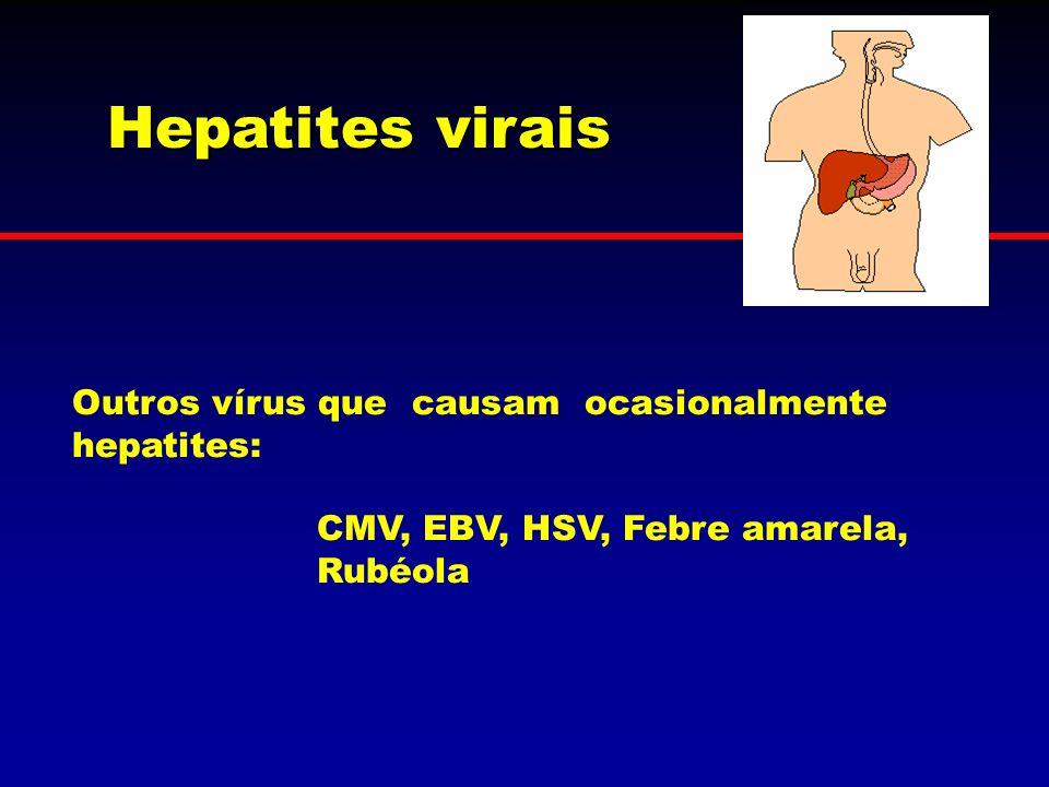 Hepatites virais Outros vírus que causam ocasionalmente hepatites: CMV, EBV, HSV, Febre amarela, Rubéola