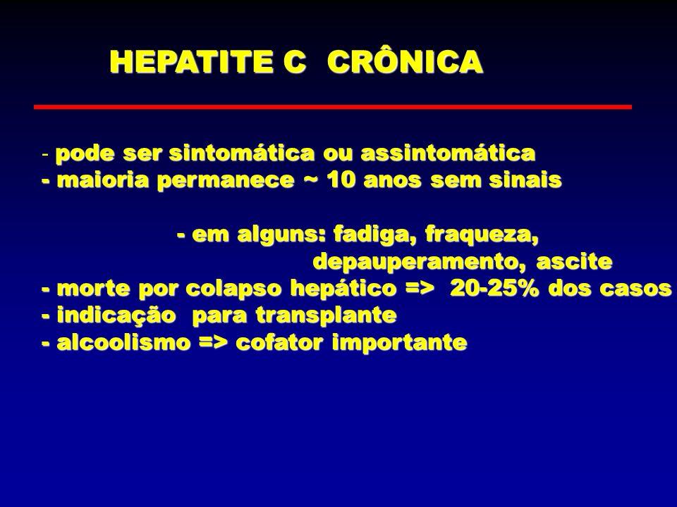 HEPATITE C CRÔNICA pode ser sintomática ou assintomática - pode ser sintomática ou assintomática - maioria permanece ~ 10 anos sem sinais - em alguns: