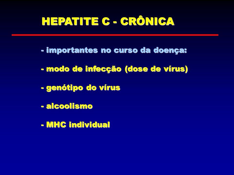 HEPATITE C - CRÔNICA - importantes no curso da doença: - modo de infecção (dose de vírus) - genótipo do vírus - alcoolismo - MHC individual