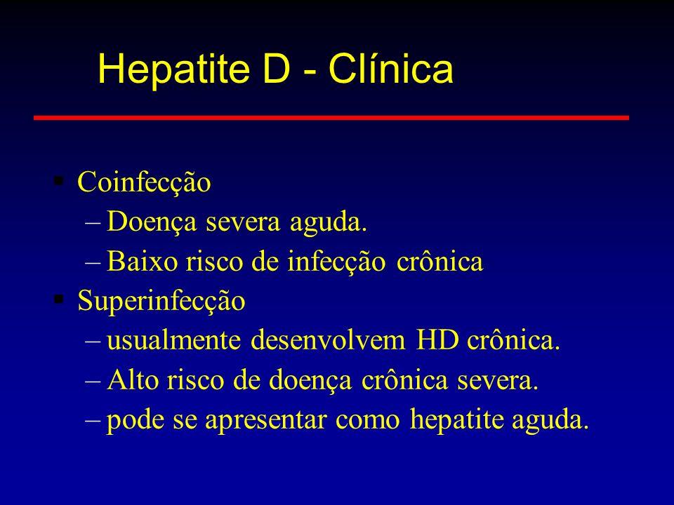 Coinfecção –Doença severa aguda. –Baixo risco de infecção crônica Superinfecção –usualmente desenvolvem HD crônica. –Alto risco de doença crônica seve