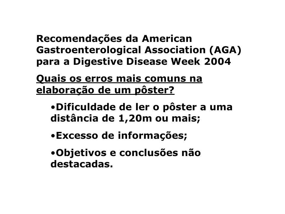 Recomendações da American Gastroenterological Association (AGA) para a Digestive Disease Week 2004 Quais os erros mais comuns na elaboração de um pôst