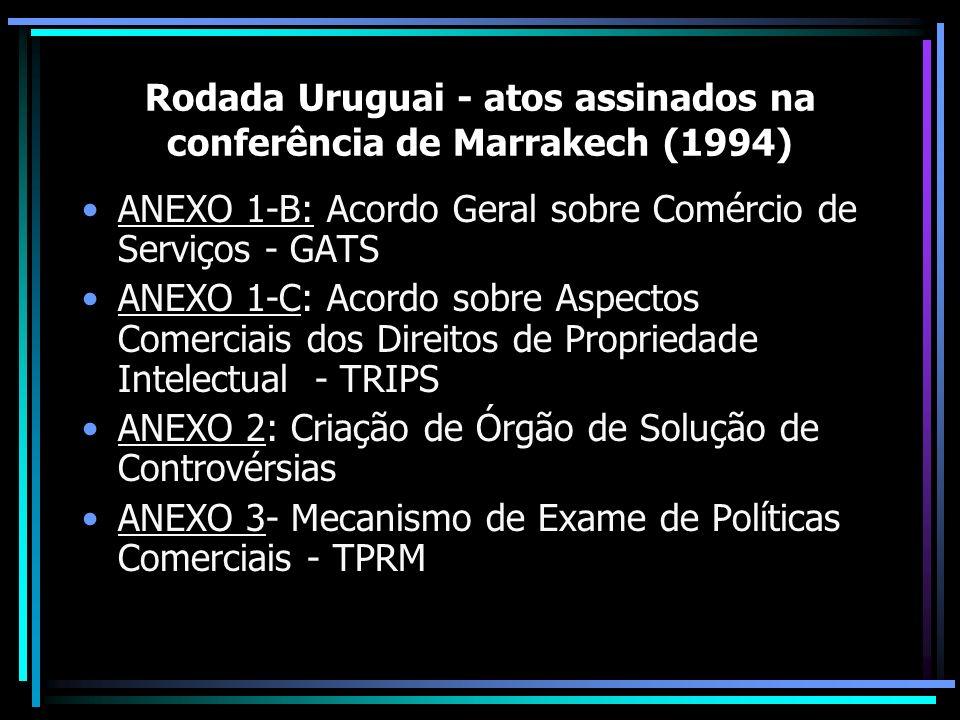 Rodada Uruguai - atos assinados na conferência de Marrakech (1994) ANEXO 1-B: Acordo Geral sobre Comércio de Serviços - GATS ANEXO 1-C: Acordo sobre A