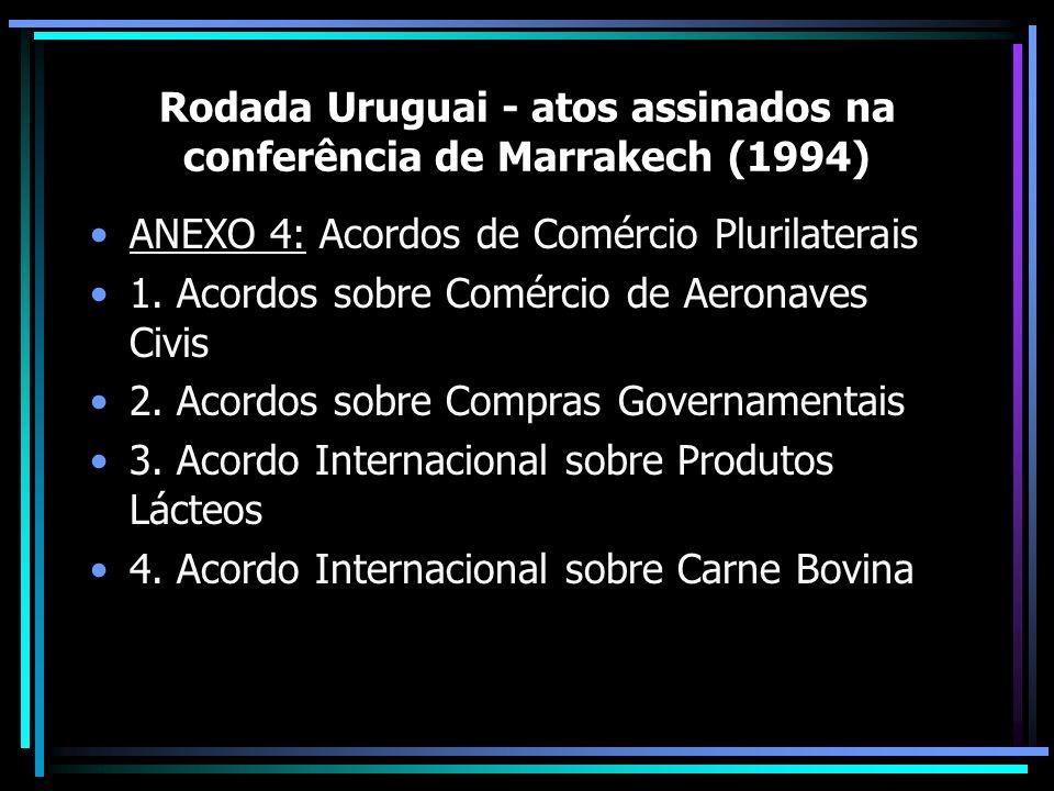 Rodada Uruguai - atos assinados na conferência de Marrakech (1994) ANEXO 4: Acordos de Comércio Plurilaterais 1. Acordos sobre Comércio de Aeronaves C
