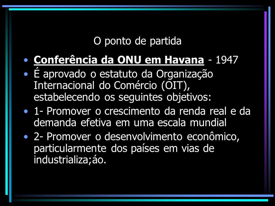 O ponto de partida Conferência da ONU em Havana - 1947 É aprovado o estatuto da Organização Internacional do Comércio (OIT), estabelecendo os seguinte