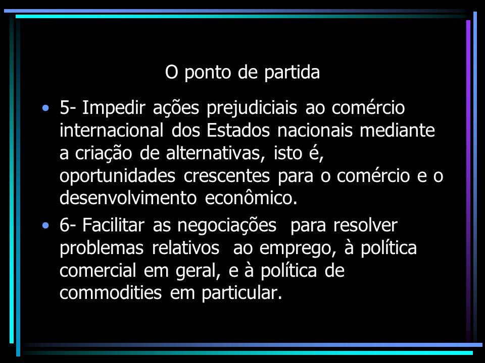 O ponto de partida 5- Impedir ações prejudiciais ao comércio internacional dos Estados nacionais mediante a criação de alternativas, isto é, oportunid