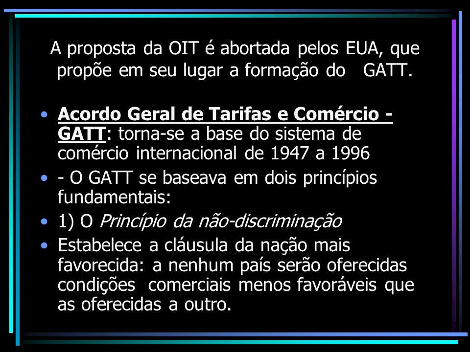 A proposta da OIT é abortada pelos EUA, que propõe em seu lugar a formação do GATT. Acordo Geral de Tarifas e Comércio - GATT: torna-se a base do sist