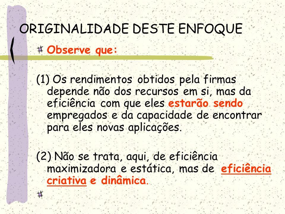 ORIGINALIDADE DESTE ENFOQUE Observe que: (1) Os rendimentos obtidos pela firmas depende não dos recursos em si, mas da eficiência com que eles estarão