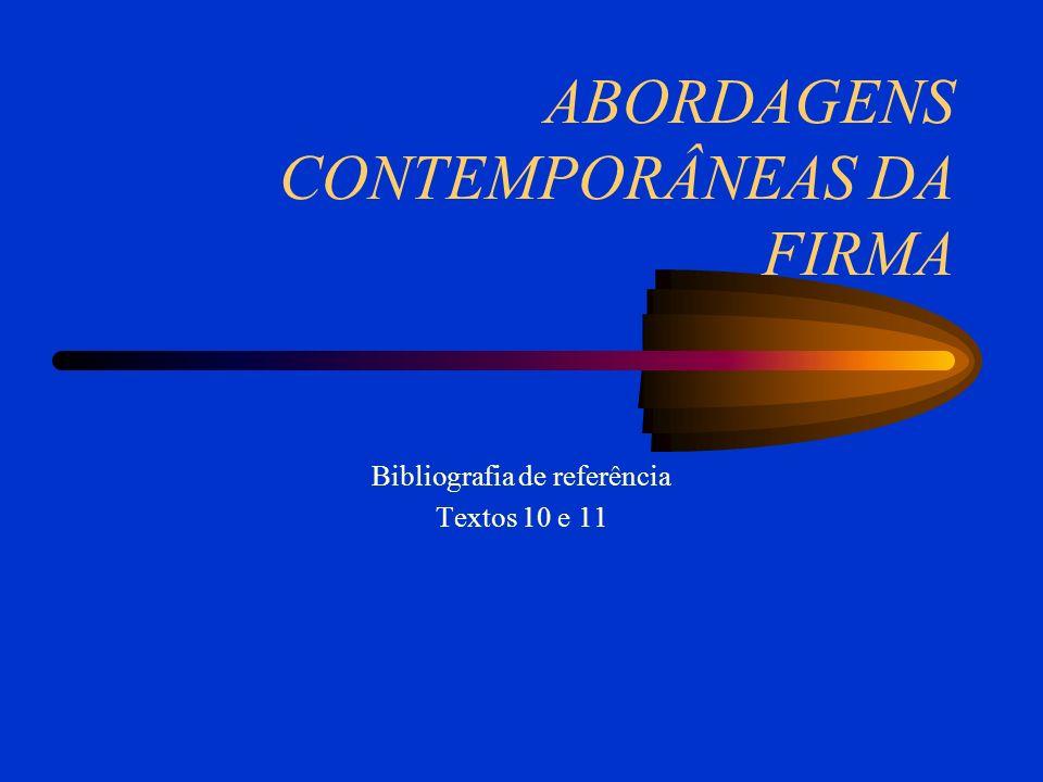 ABORDAGENS CONTEMPORÂNEAS DA FIRMA Bibliografia de referência Textos 10 e 11