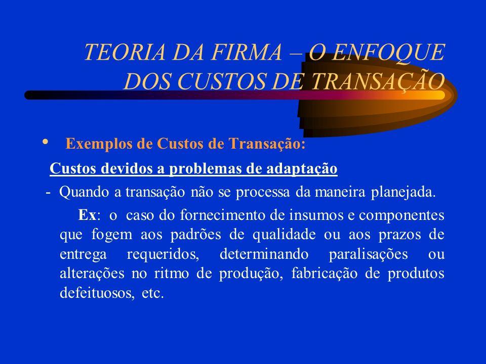 TEORIA DA FIRMA – O ENFOQUE DOS CUSTOS DE TRANSAÇÃO Exemplos de Custos de Transação: Custos devidos a problemas de adaptação - Quando a transação não se processa da maneira planejada.