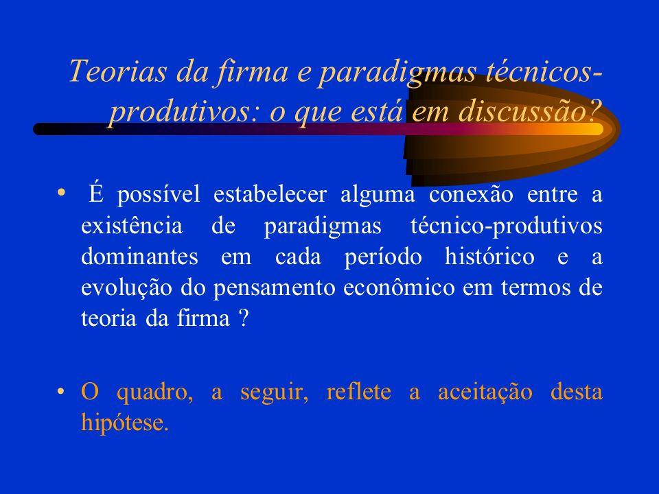 Teorias da firma e paradigmas técnicos- produtivos: o que está em discussão.