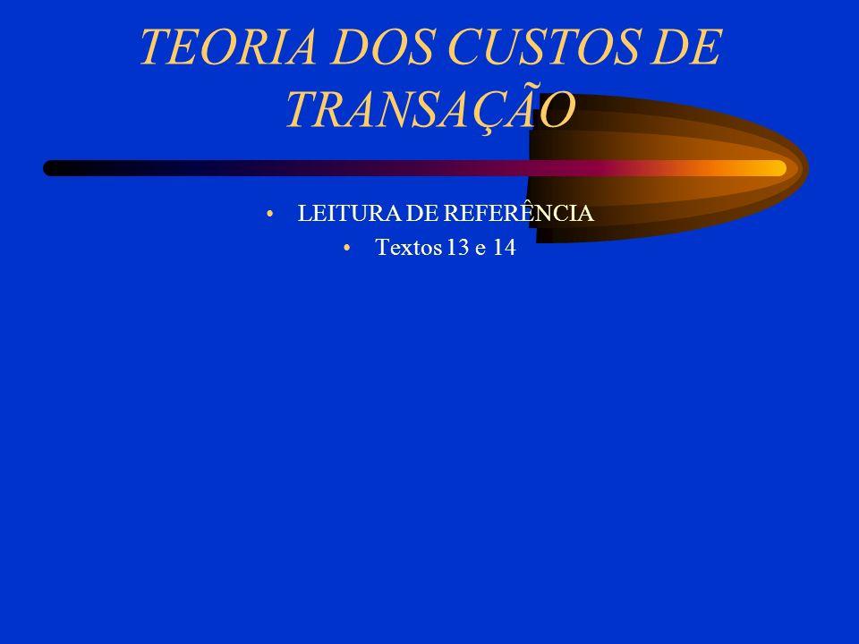 TEORIA DOS CUSTOS DE TRANSAÇÃO LEITURA DE REFERÊNCIA Textos 13 e 14