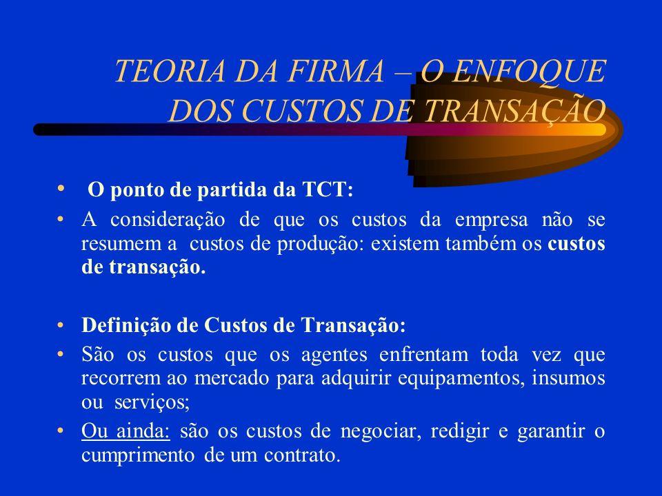 TEORIA DA FIRMA – O ENFOQUE DOS CUSTOS DE TRANSAÇÃO O ponto de partida da TCT: A consideração de que os custos da empresa não se resumem a custos de produção: existem também os custos de transação.