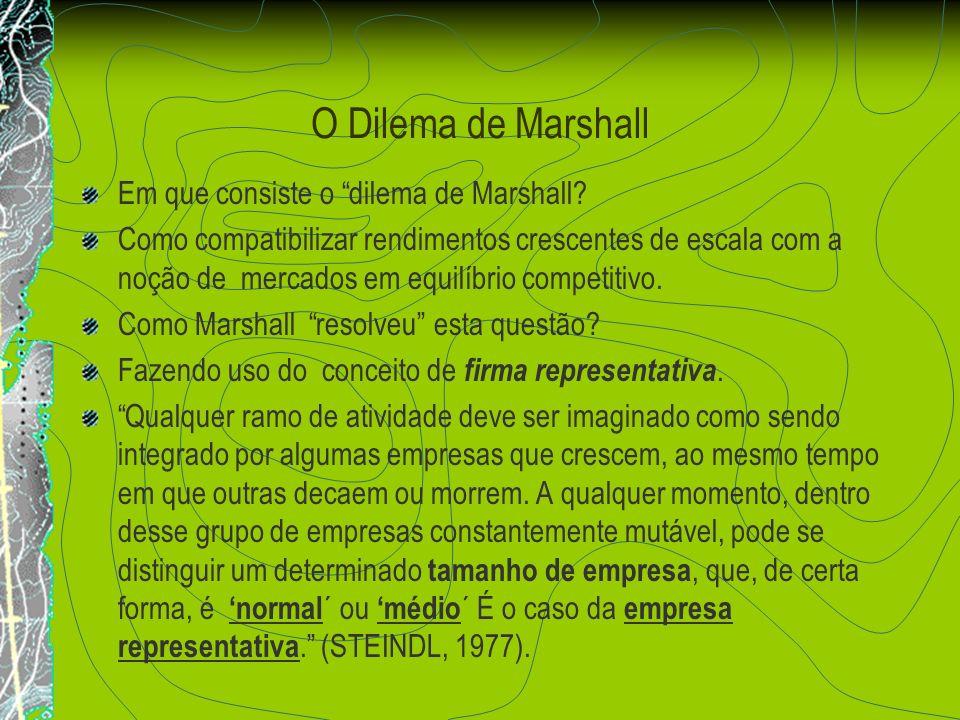 O Dilema de Marshall Em que consiste o dilema de Marshall? Como compatibilizar rendimentos crescentes de escala com a noção de mercados em equilíbrio