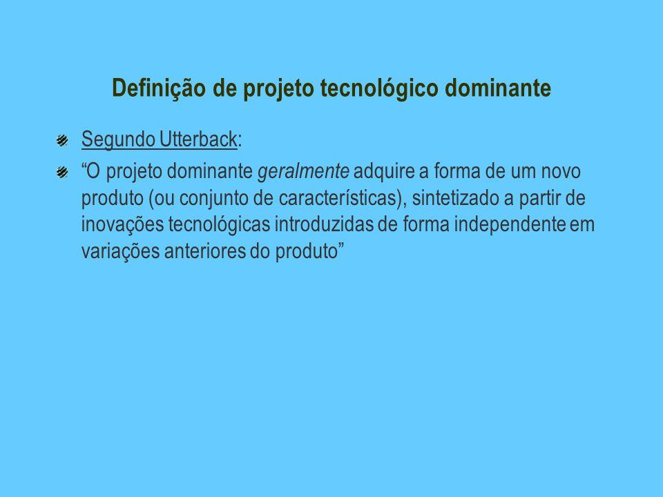 Definição de projeto tecnológico dominante Segundo Utterback: O projeto dominante geralmente adquire a forma de um novo produto (ou conjunto de caract