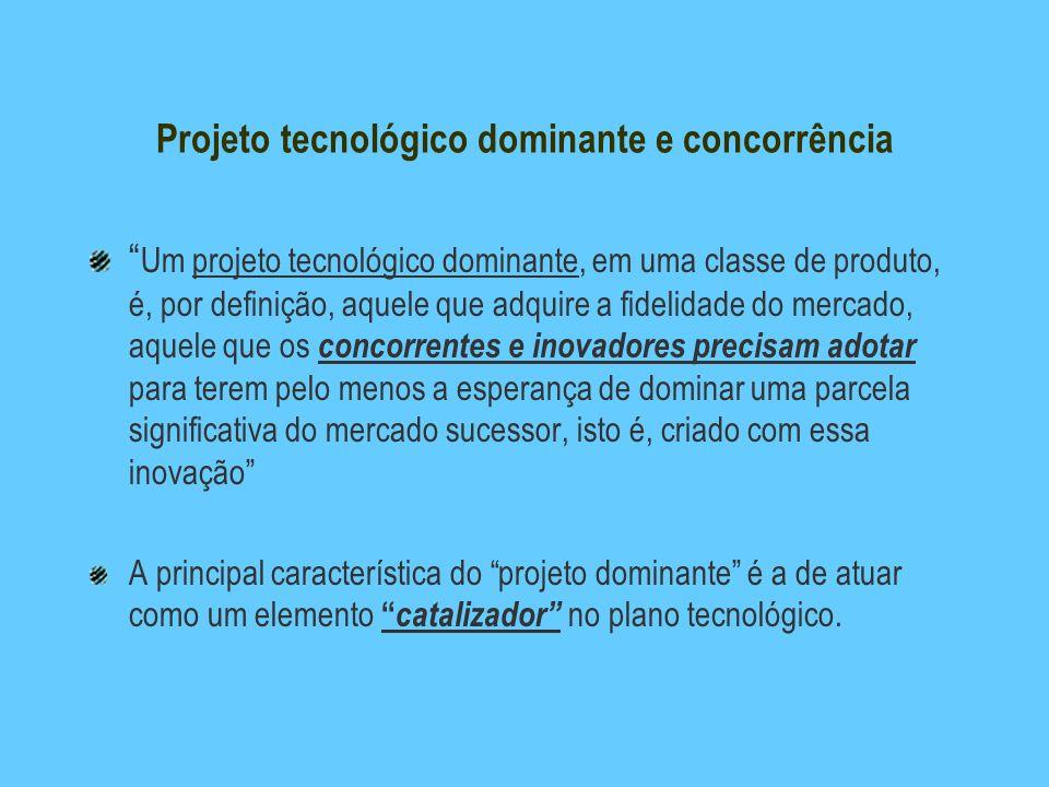 Projeto tecnológico dominante e concorrência Um projeto tecnológico dominante, em uma classe de produto, é, por definição, aquele que adquire a fideli