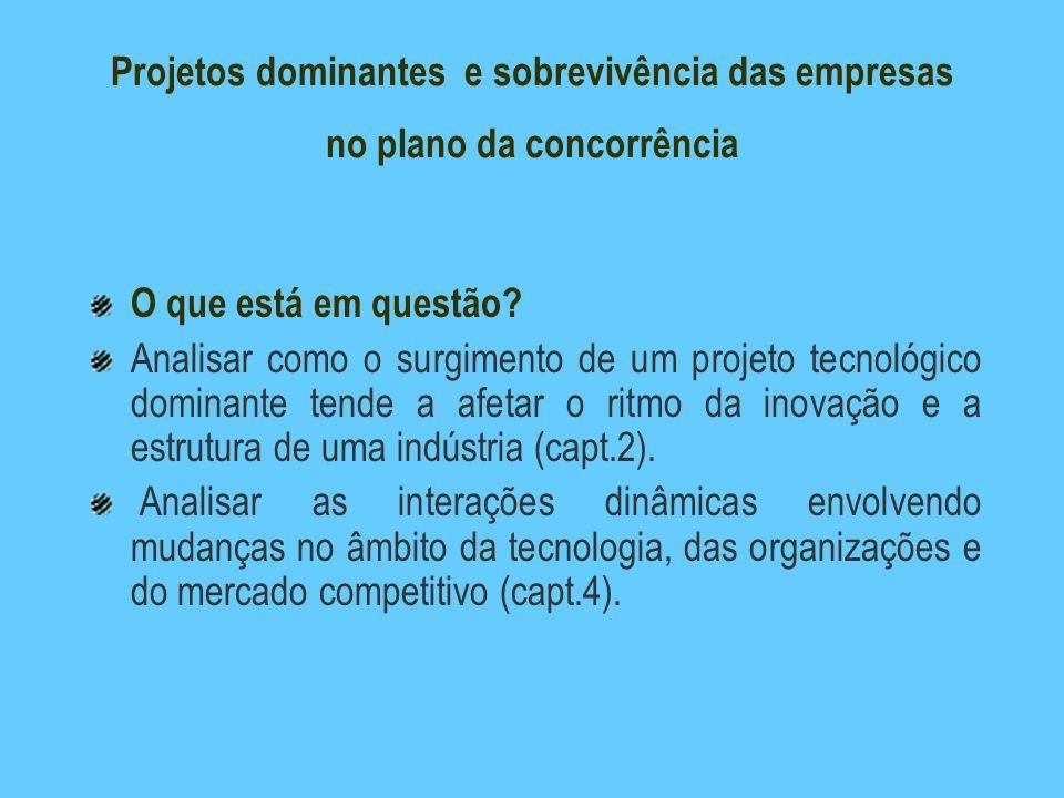 Projetos dominantes e sobrevivência das empresas no plano da concorrência O que está em questão? Analisar como o surgimento de um projeto tecnológico