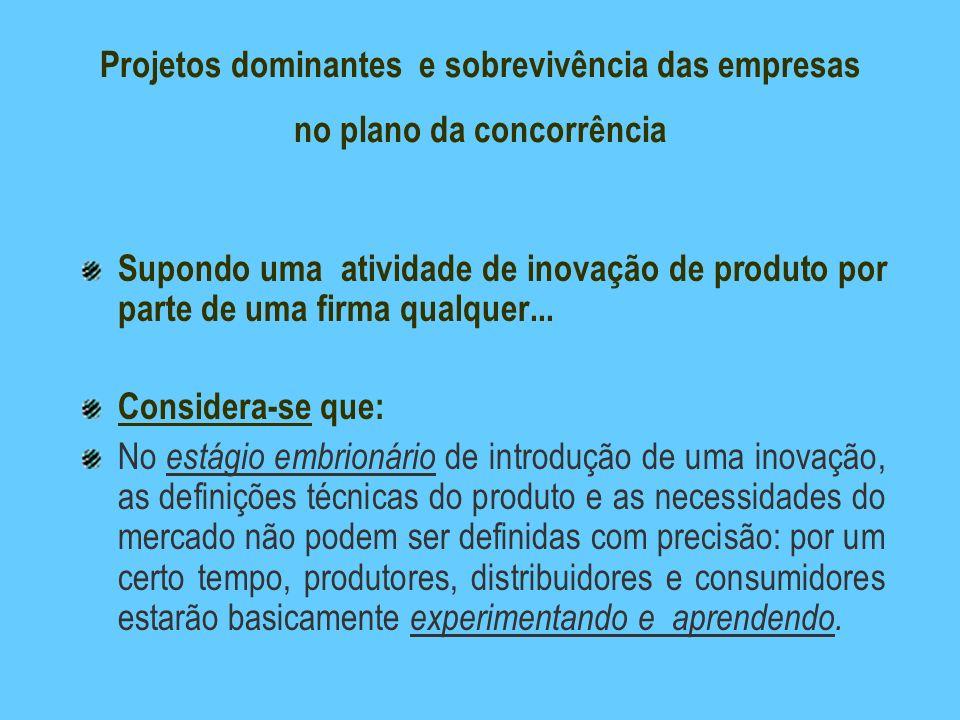 Projetos dominantes e sobrevivência das empresas no plano da concorrência Supondo uma atividade de inovação de produto por parte de uma firma qualquer