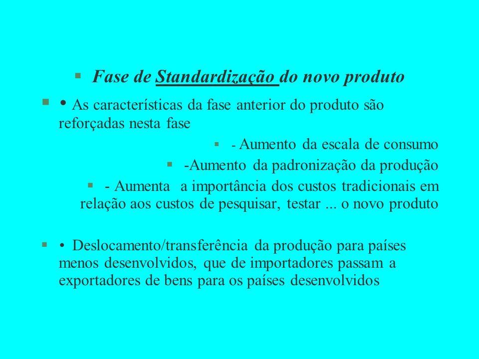 §Fase de Standardização do novo produto § As características da fase anterior do produto são reforçadas nesta fase §- Aumento da escala de consumo §-A