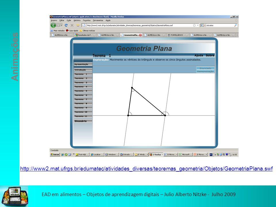 EAD em alimentos – Objetos de aprendizagem digitais – Julio Alberto Nitzke - Julho 2009 Animações http://www2.mat.ufrgs.br/edumatec/atividades_diversas/teoremas_geometria/Objetos/GeometriaPlana.swf