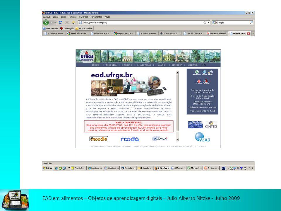 EAD em alimentos – Objetos de aprendizagem digitais – Julio Alberto Nitzke - Julho 2009