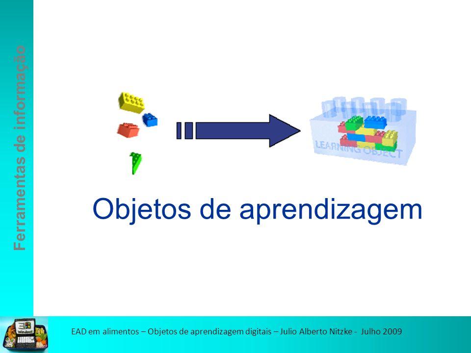EAD em alimentos – Objetos de aprendizagem digitais – Julio Alberto Nitzke - Julho 2009 Ferramentas de informação Objetos de aprendizagem