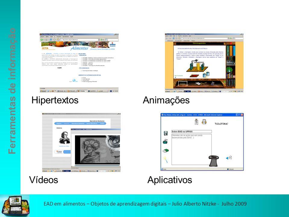 EAD em alimentos – Objetos de aprendizagem digitais – Julio Alberto Nitzke - Julho 2009 HipertextosAnimações VídeosAplicativos Ferramentas de informação