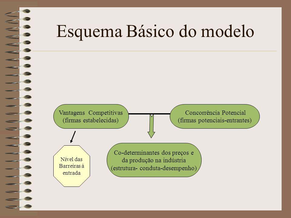 Esquema Básico do modelo Vantagens Competitivas (firmas estabelecidas) Concorrência Potencial (firmas potenciais-entrantes) Co-determinantes dos preço