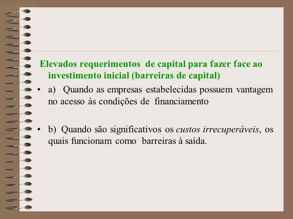Elevados requerimentos de capital para fazer face ao investimento inicial (barreiras de capital) a) Quando as empresas estabelecidas possuem vantagem