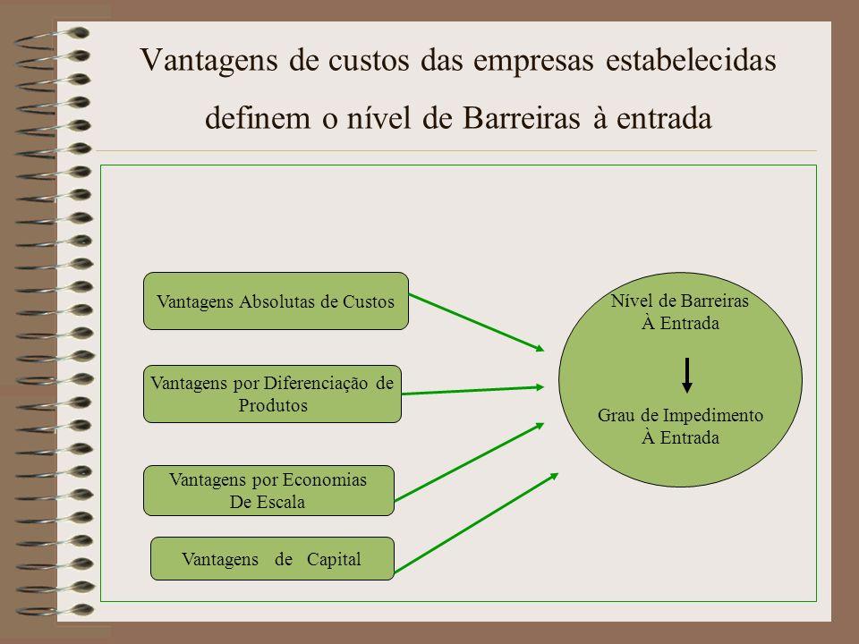 Vantagens de custos das empresas estabelecidas definem o nível de Barreiras à entrada Vantagens Absolutas de Custos Vantagens por Diferenciação de Pro