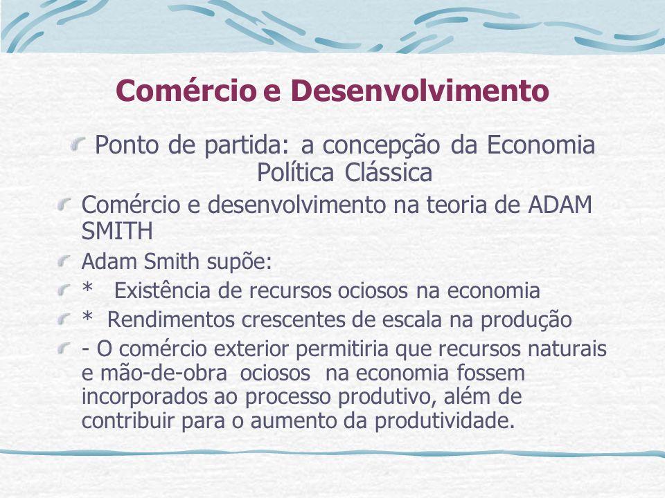Comércio e Desenvolvimento Ponto de partida: a concepção da Economia Política Clássica Comércio e desenvolvimento na teoria de ADAM SMITH Adam Smith s