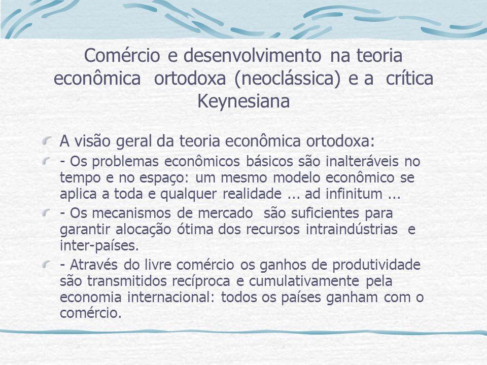 Comércio e desenvolvimento na teoria econômica ortodoxa (neoclássica) e a crítica Keynesiana A visão geral da teoria econômica ortodoxa: - Os problema