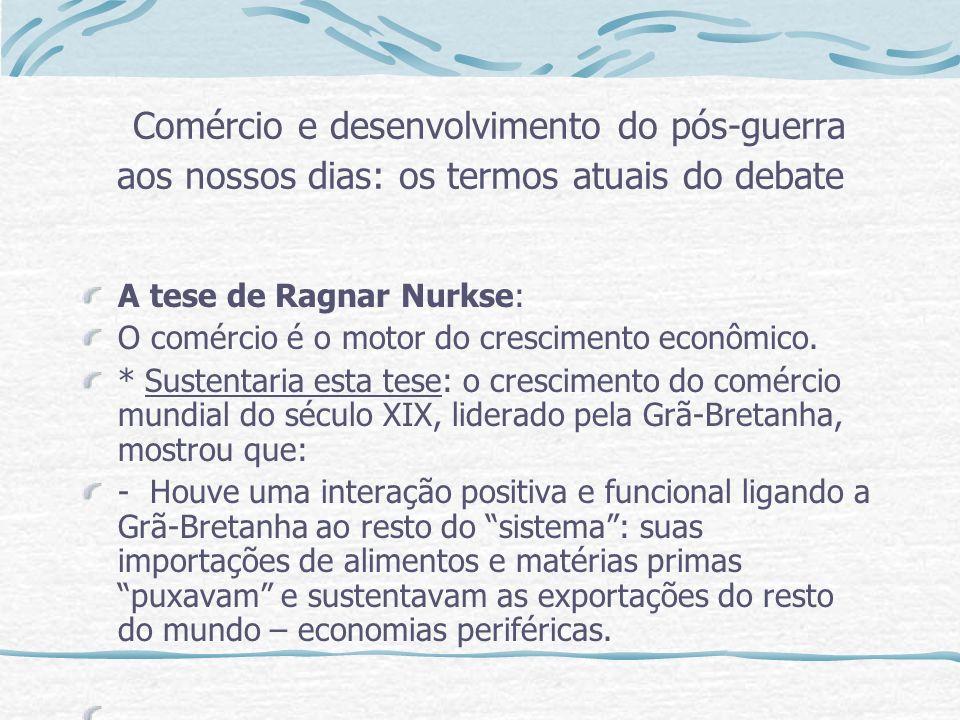 Comércio e desenvolvimento do pós-guerra aos nossos dias: os termos atuais do debate A tese de Ragnar Nurkse: O comércio é o motor do crescimento econ