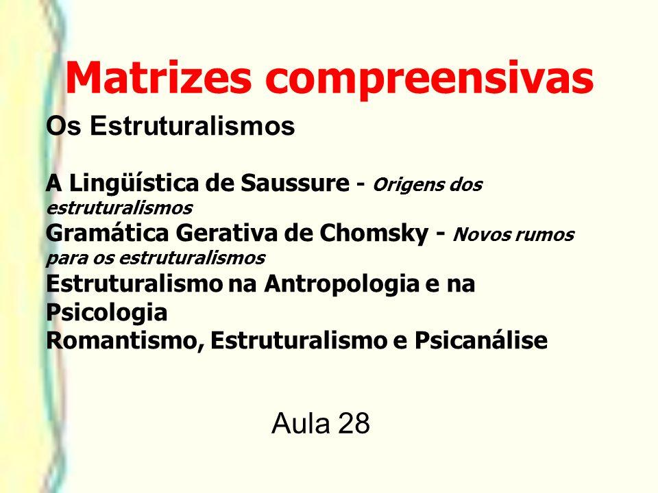 Os Estruturalismos A Lingüística de Saussure - Origens dos estruturalismos Gramática Gerativa de Chomsky - Novos rumos para os estruturalismos Estrutu