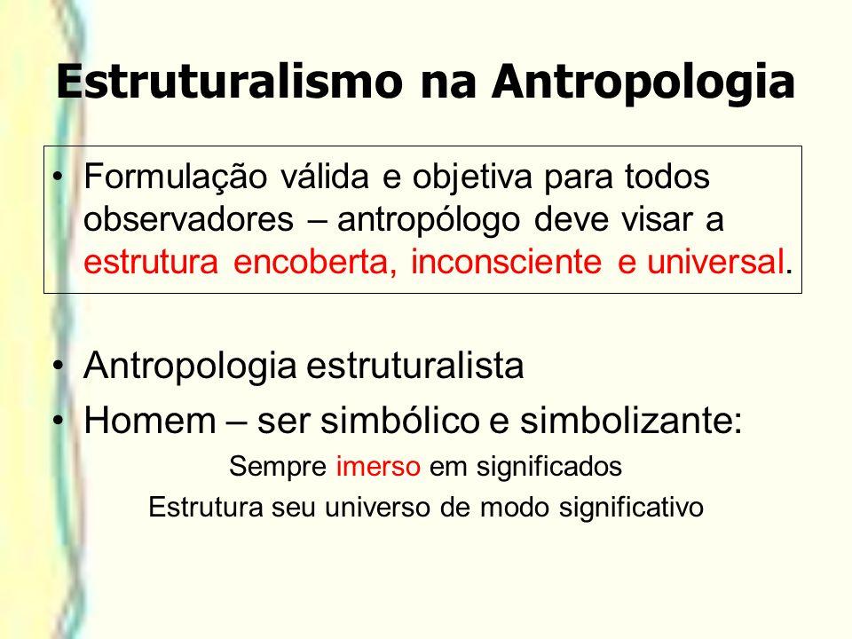 Estruturalismo na Antropologia Formulação válida e objetiva para todos observadores – antropólogo deve visar a estrutura encoberta, inconsciente e uni