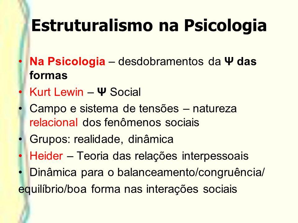 Estruturalismo na Psicologia Na Psicologia – desdobramentos da Ψ das formas Kurt Lewin – Ψ Social Campo e sistema de tensões – natureza relacional dos