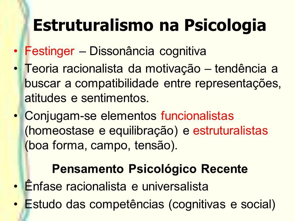 Estruturalismo na Psicologia Festinger – Dissonância cognitiva Teoria racionalista da motivação – tendência a buscar a compatibilidade entre represent
