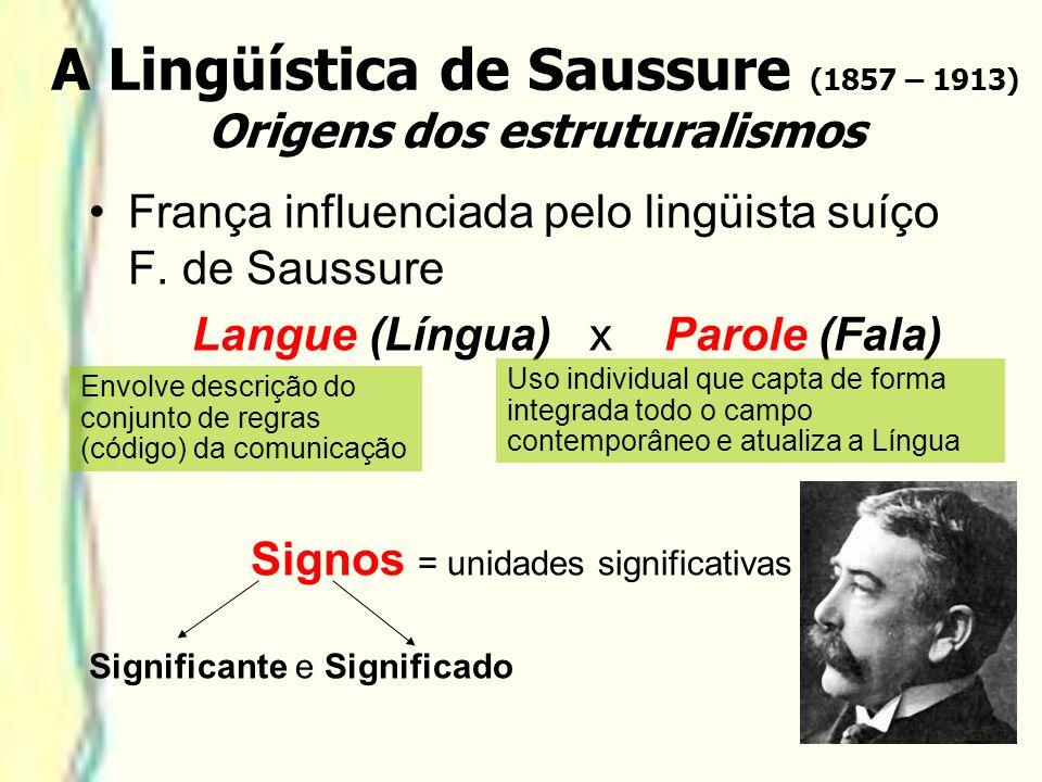 A Lingüística de Saussure (1857 – 1913) Origens dos estruturalismos França influenciada pelo lingüista suíço F. de Saussure Langue (Língua) x Parole (