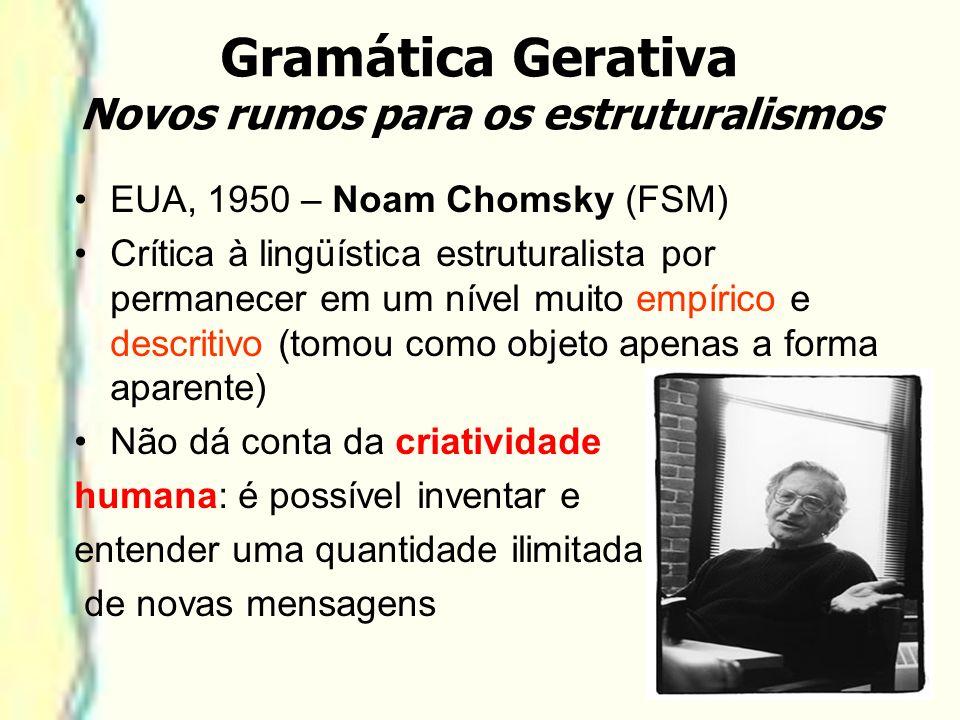 Gramática Gerativa Novos rumos para os estruturalismos EUA, 1950 – Noam Chomsky (FSM) Crítica à lingüística estruturalista por permanecer em um nível