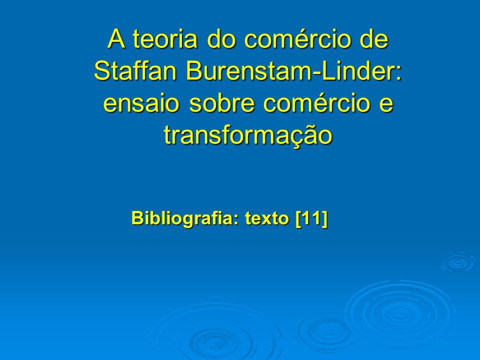 A teoria do comércio de Staffan Burenstam-Linder: ensaio sobre comércio e transformação Bibliografia: texto [11]