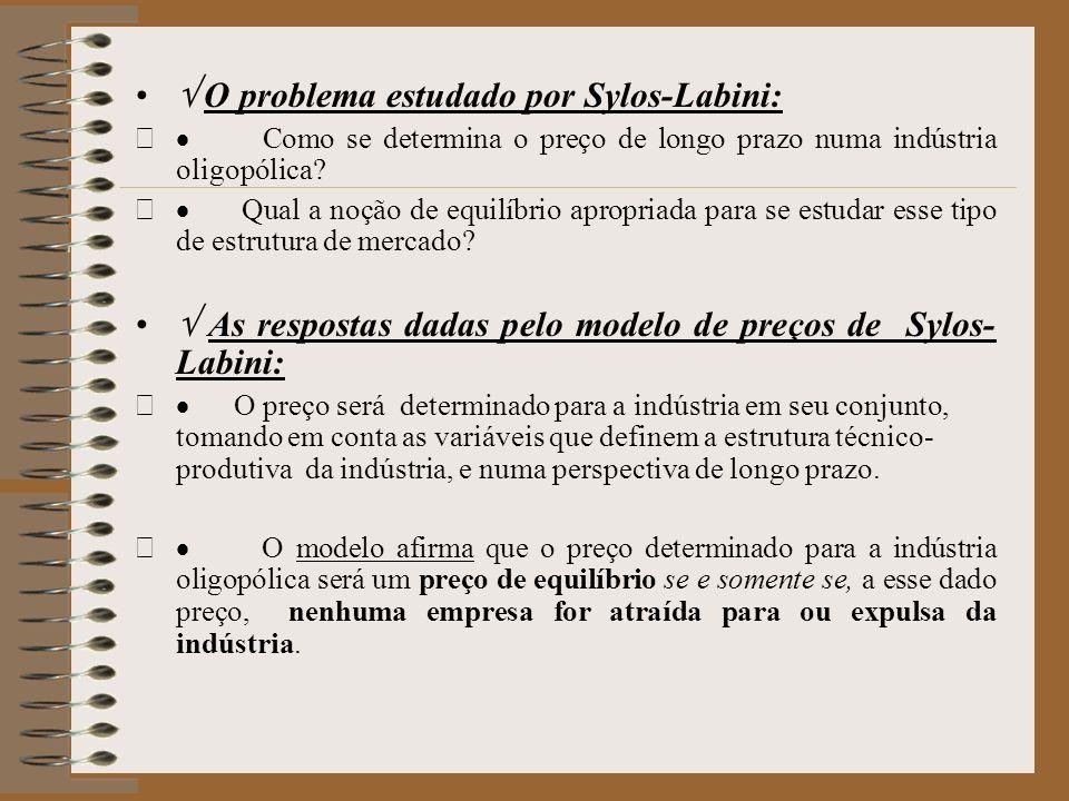 O problema estudado por Sylos-Labini: Como se determina o preço de longo prazo numa indústria oligopólica? Qual a noção de equilíbrio apropriada para