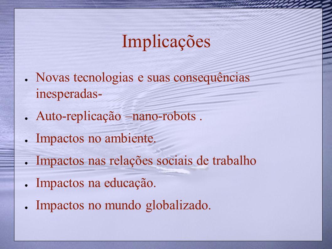 Implicações Novas tecnologias e suas consequências inesperadas- Auto-replicação –nano-robots. Impactos no ambiente. Impactos nas relações sociais de t