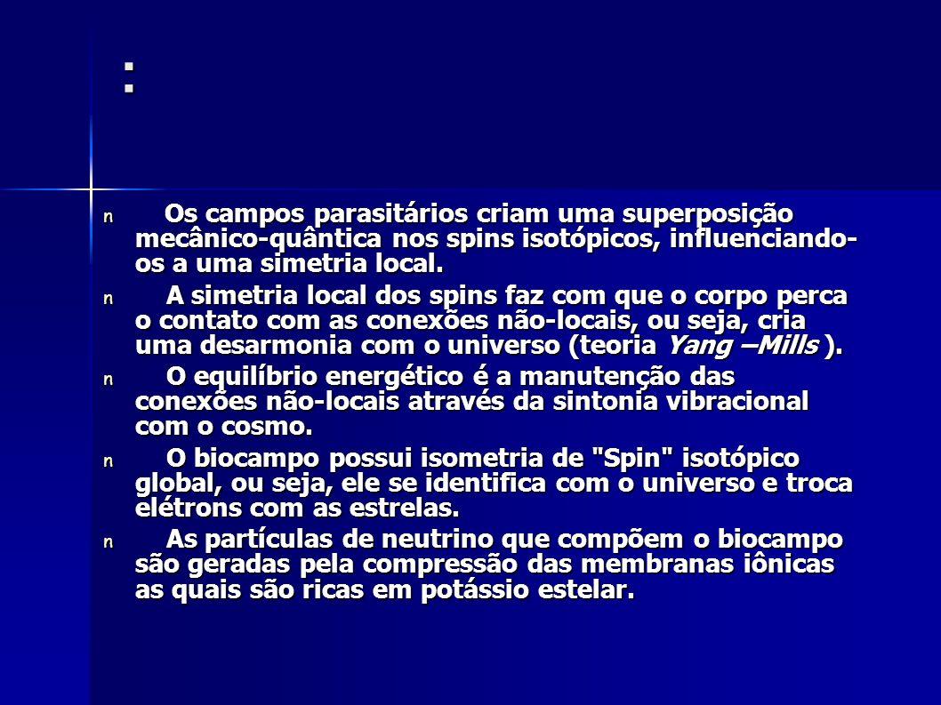 : Os campos parasitários criam uma superposição mecânico-quântica nos spins isotópicos, influenciando- os a uma simetria local. Os campos parasitários