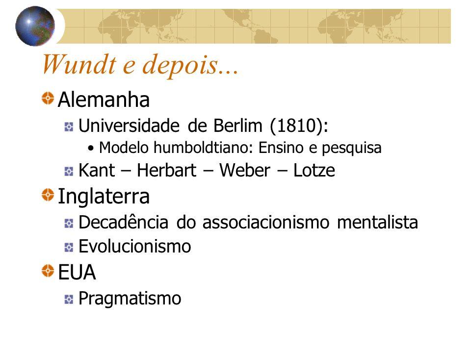 Wundt e depois... Alemanha Universidade de Berlim (1810): Modelo humboldtiano: Ensino e pesquisa Kant – Herbart – Weber – Lotze Inglaterra Decadência