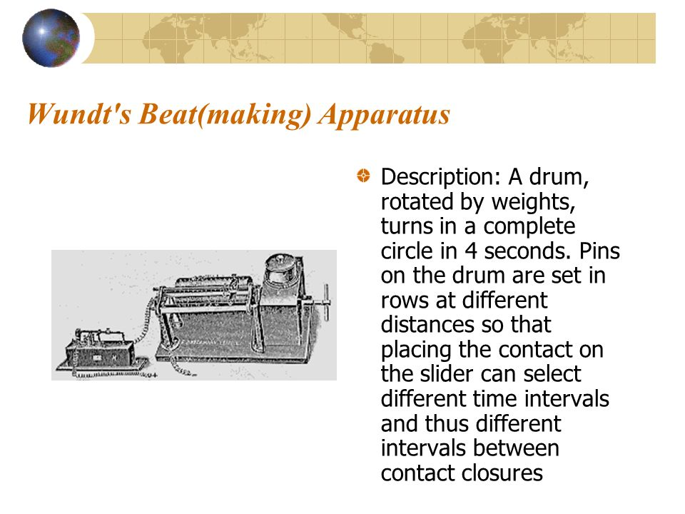 Wundt's Beat(making) Apparatus Description: A drum, rotated by weights, turns in a complete circle in 4 seconds. Pins on the drum are set in rows at d