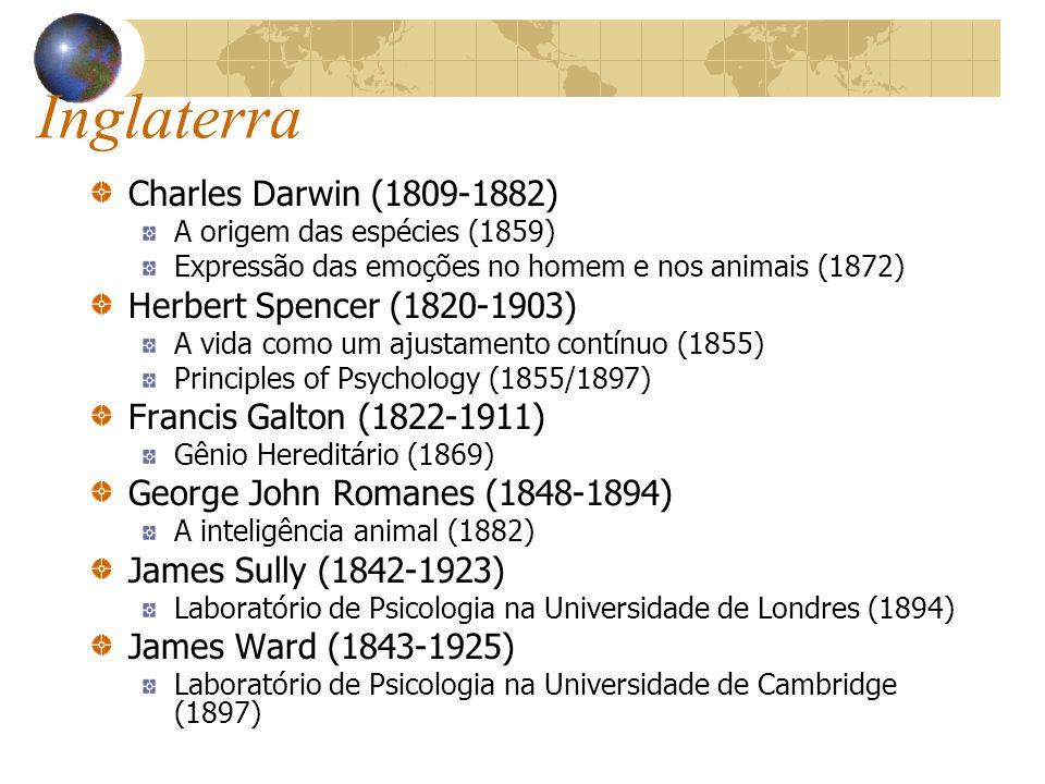 Inglaterra Charles Darwin (1809-1882) A origem das espécies (1859) Expressão das emoções no homem e nos animais (1872) Herbert Spencer (1820-1903) A v