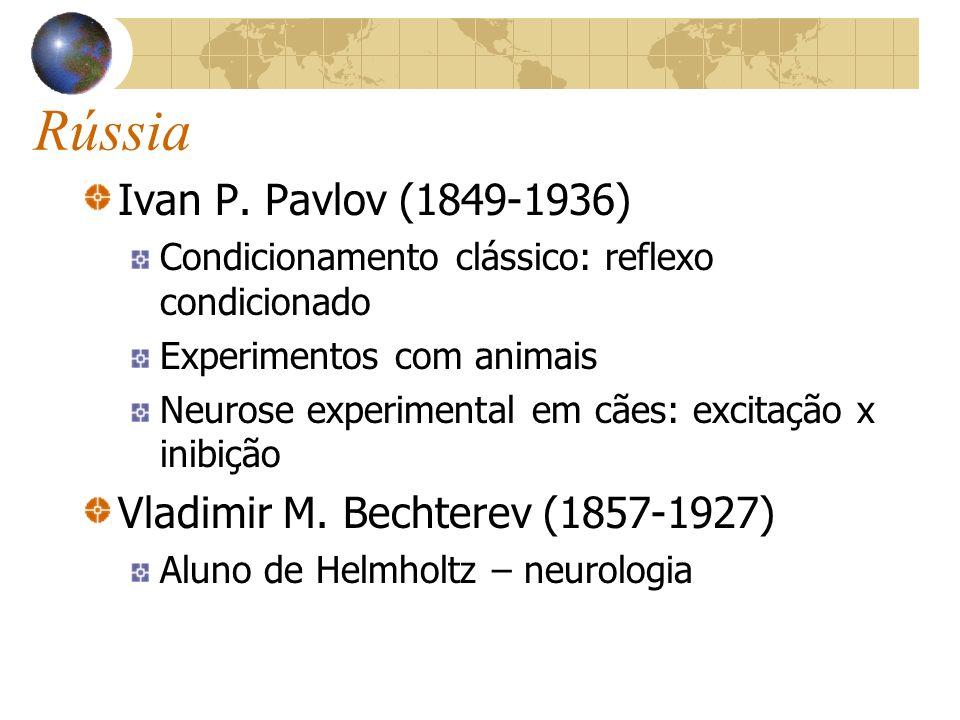 Rússia Ivan P. Pavlov (1849-1936) Condicionamento clássico: reflexo condicionado Experimentos com animais Neurose experimental em cães: excitação x in