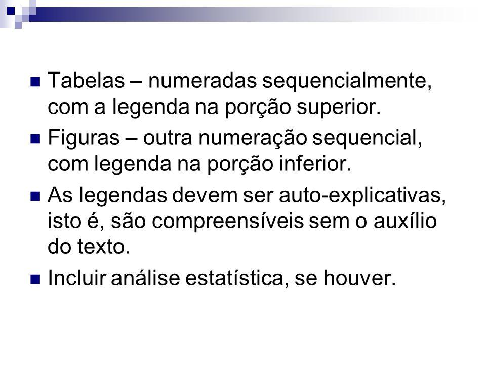 Tabelas – numeradas sequencialmente, com a legenda na porção superior. Figuras – outra numeração sequencial, com legenda na porção inferior. As legend